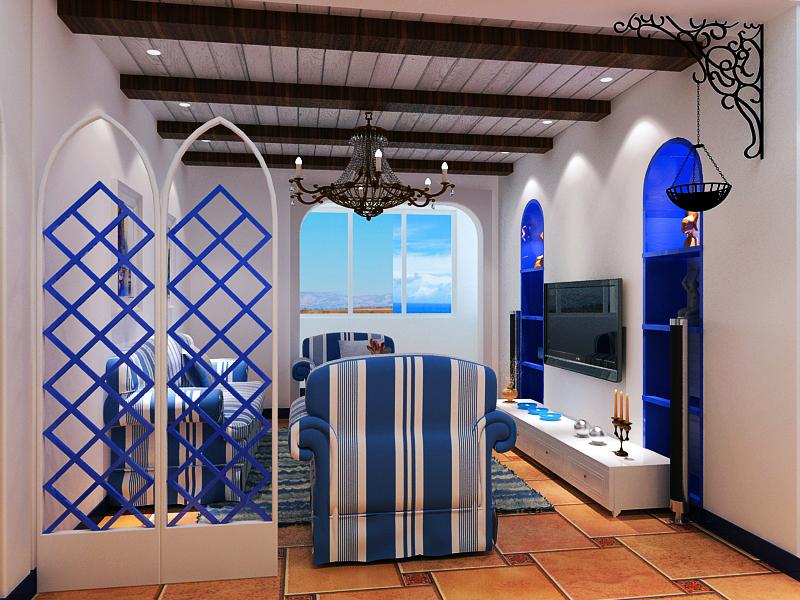 地中海客厅吊顶效果图
