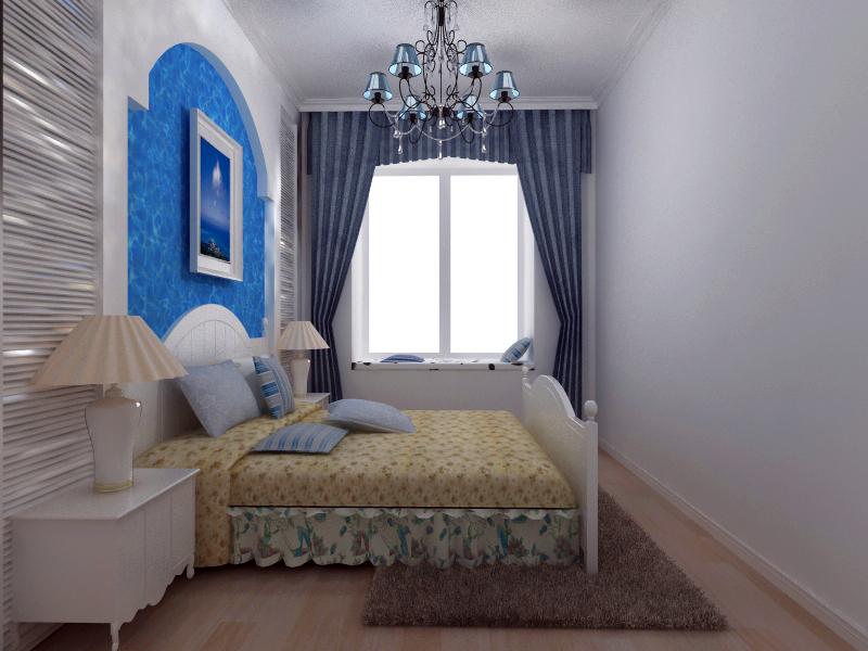 地中海卧室飘窗效果图