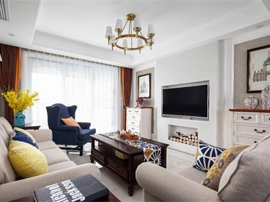 美式客厅电视背景墙实景图