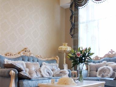 简欧客厅沙发背景墙实景图