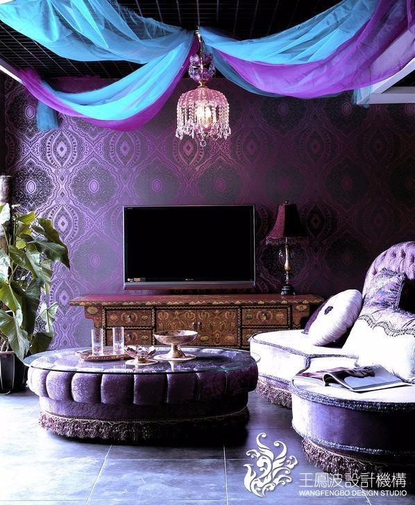 混搭客厅电视背景墙实景图