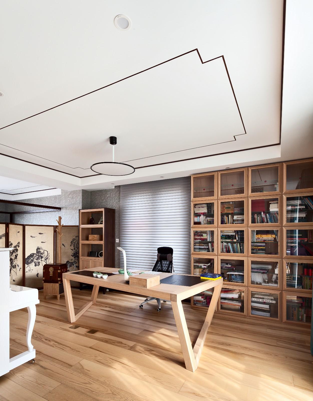 中式书房吊顶实景图