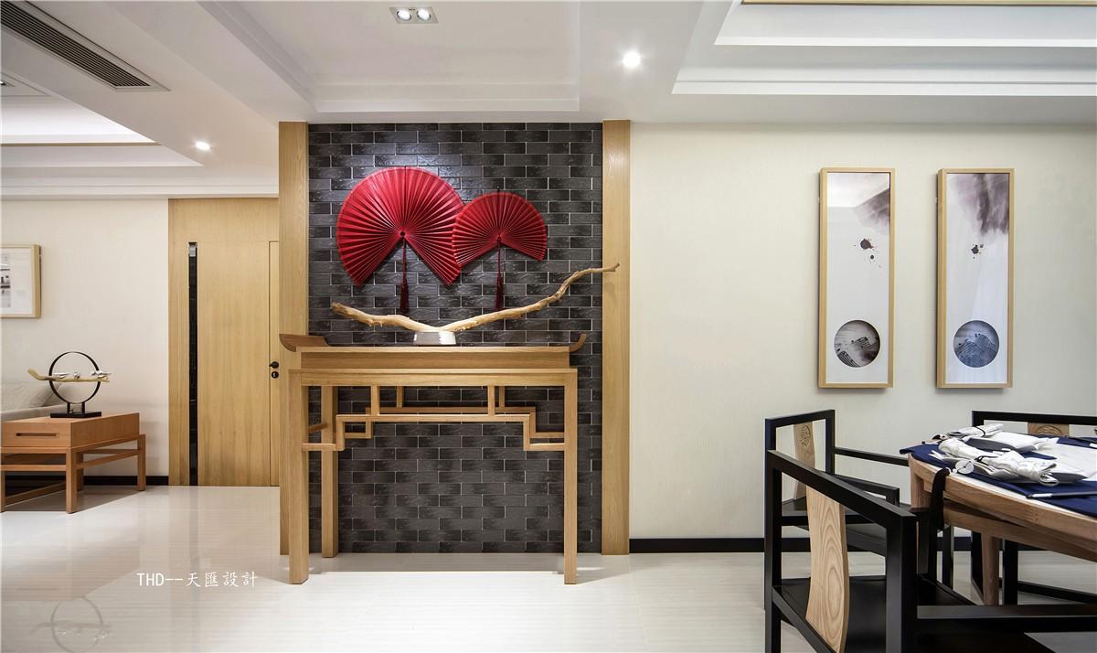 中式玄关背景墙实景图