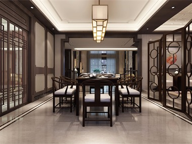 中式餐廳背景墻效果圖