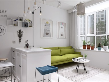 北欧客厅沙发背景墙效果图