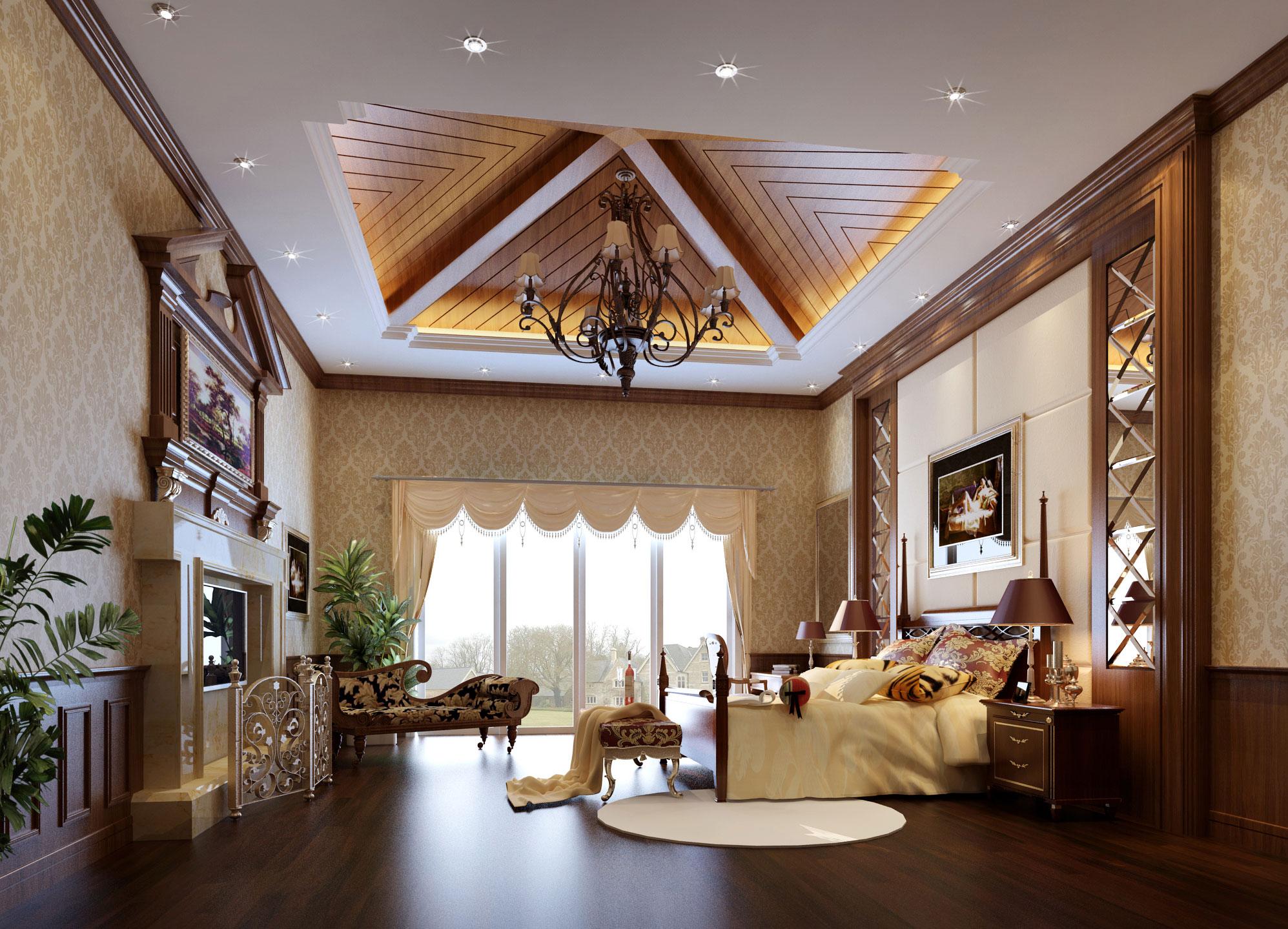 欧式卧室吊顶效果图图片