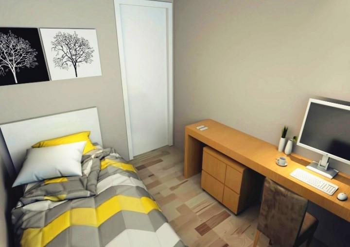 现代卧室工作区效果图