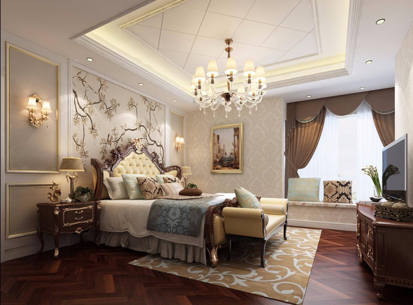 新古典卧室背景墙效果图