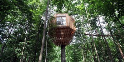 atelier LAVIT打造新型旅馆 森林中的隐蔽树屋