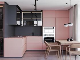 臟粉搭配灰色,法國75平米單身女子公寓